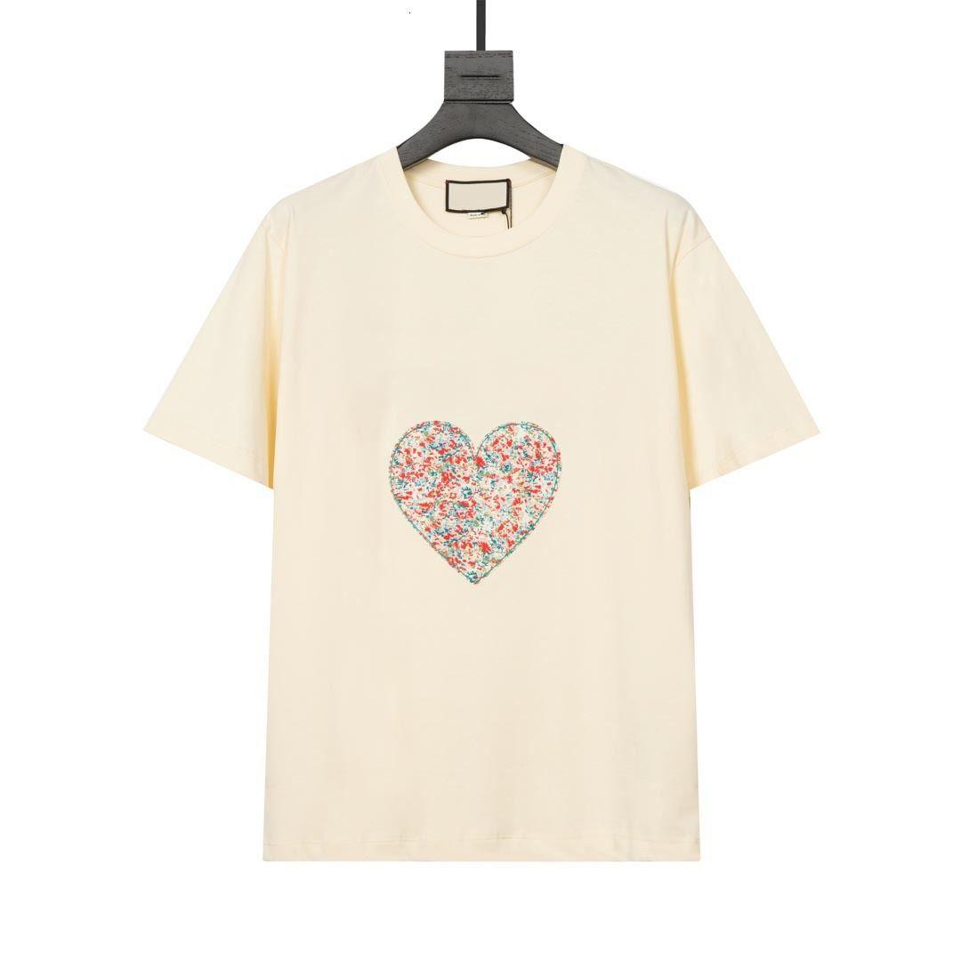 Designer Hombres Mujer camiseta con alta calidad 21ss amor y flor corazón impresión confort camiseta negro beige verde todas las etiquetas de gran tamaño