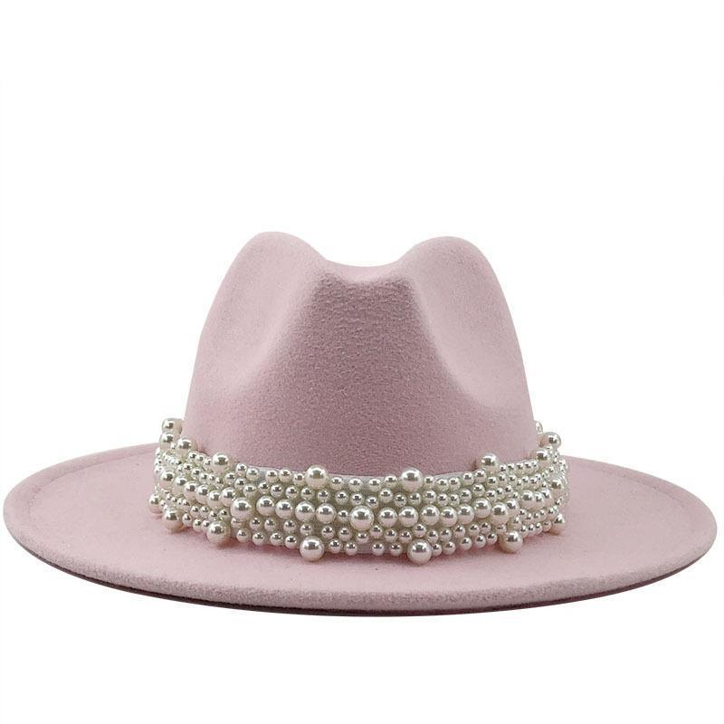 Jazz Fedora Sombrero con cadena de perlas Capboy Cowboy Soild Color Invierno Field Panamá BRIM BRIM PARA HOMBRE LEPOARD REDONDO SOMBRES FORMENTE