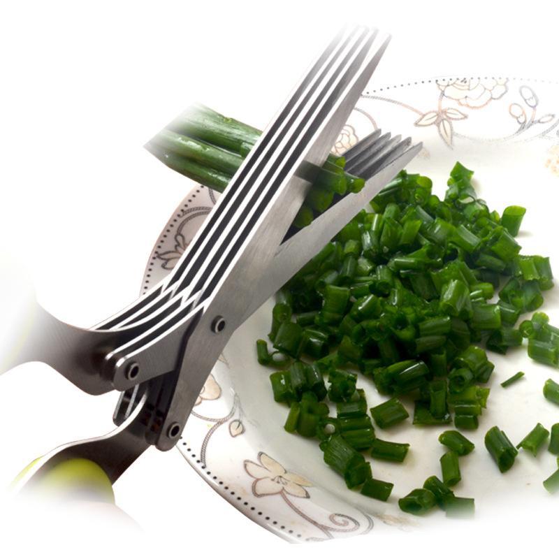 Acciaio inossidabile Cucina Scissor Multi-funzionale domestico Verde Verde Verde Verde Alghe Forbici di frantumazione a cinque strati Forbici Forte triturazione Forbisso