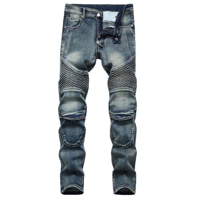Jeans Men's Mots's Potectores de rodilla Nostálgica Locomotora Jeans Slim Men