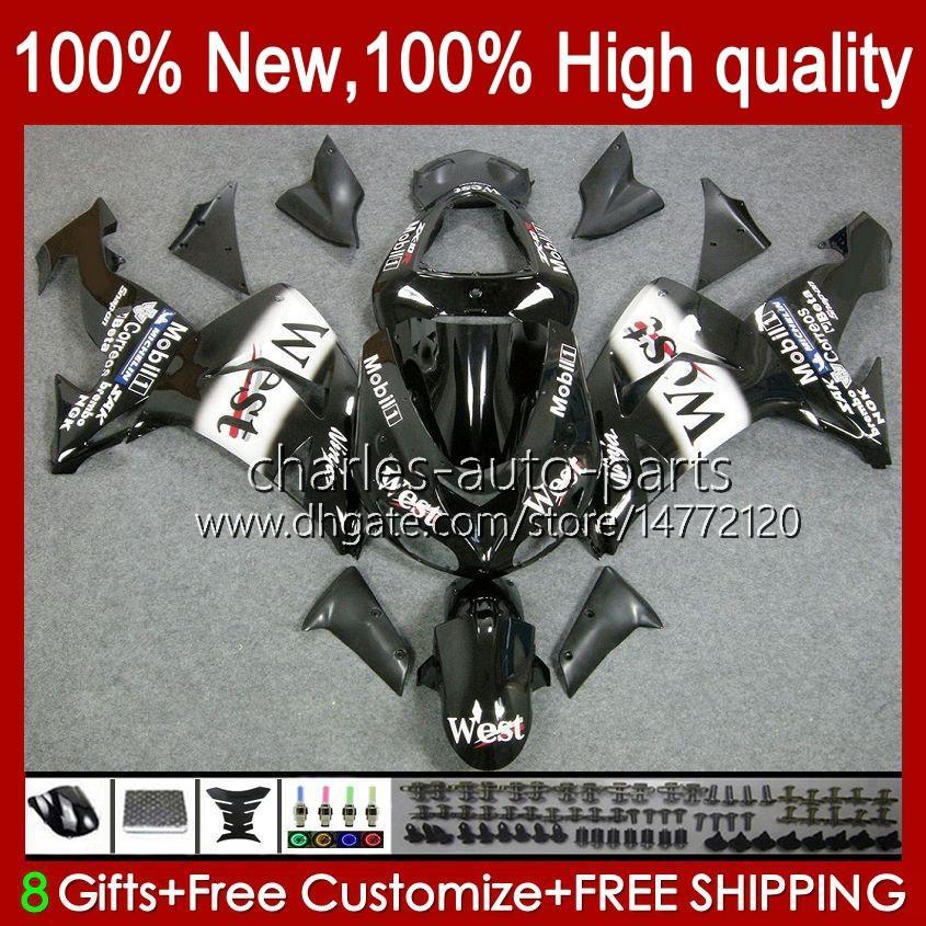 OEM-Karosserie für Kawasaki Ninja ZX1000 ZX-10R ZX1000cc 06-07 Moto-Körper 14No.12 ZX 10R 10 R 1000 CC 1000cc 2006 2007 ZX10R 06 07 ZX1000C 2006-2007 Verkleidungen Schwarz West BLK