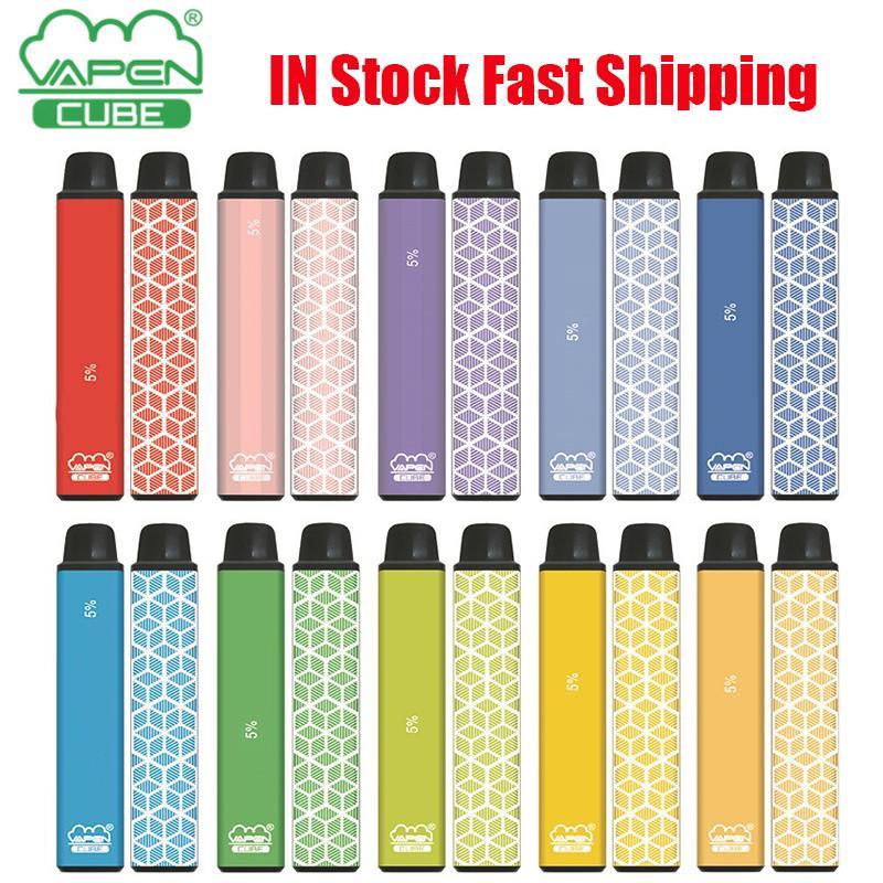 원래 VAPEN 큐브 일회용 장치 포드 키트 전자 담배 1600 퍼프 650mAh 배터리 5.5ml 미리 페리 드 카트리지 포드 vape vs 바 바 플러스 XXL 키트 100 % 정통