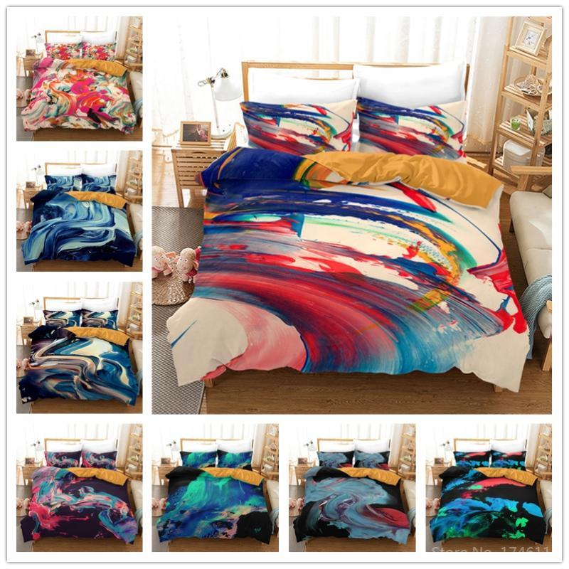 Oil Painting Vein Art 3D Printed Bedding Set Comforter Cover /Duvet With Pillowcase Bed Linens Bedclothes Home Textile Sets