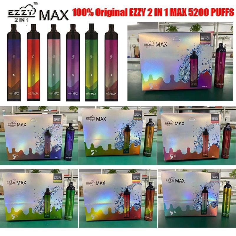 100% original d'origine 2 en 1 max recharge jetable vape électrocutation de cigarette avec batterie rechargeable de 400mAh 15ml cartouche de podage préremplie 5200 Puffs Vapes stylos