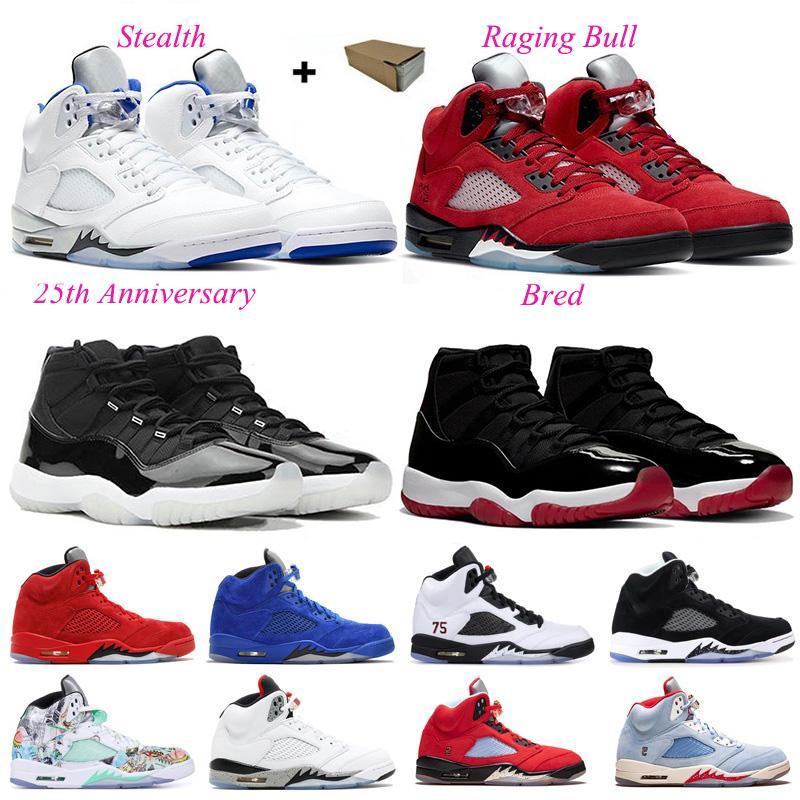 Erkekler Basketbol Ayakkabıları Jumpman 5 S 11 Raging Bull Stealth 25th Yıldönümü Oregon Ördekler Uzay Reçeli Erkek Kadın Eğitmenler Spor Sneakers