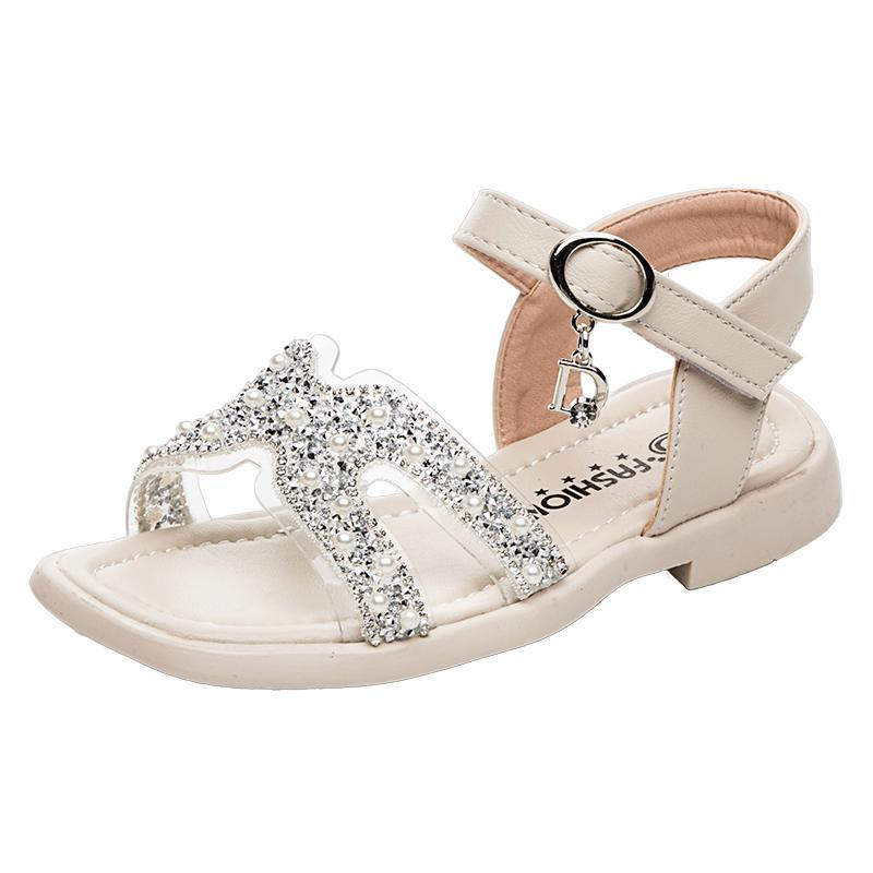 Sandales Filles Cristal Soft Sold Sold Sold Slip Beach Shoes 2021 Summer Collège Princesse pour enfants