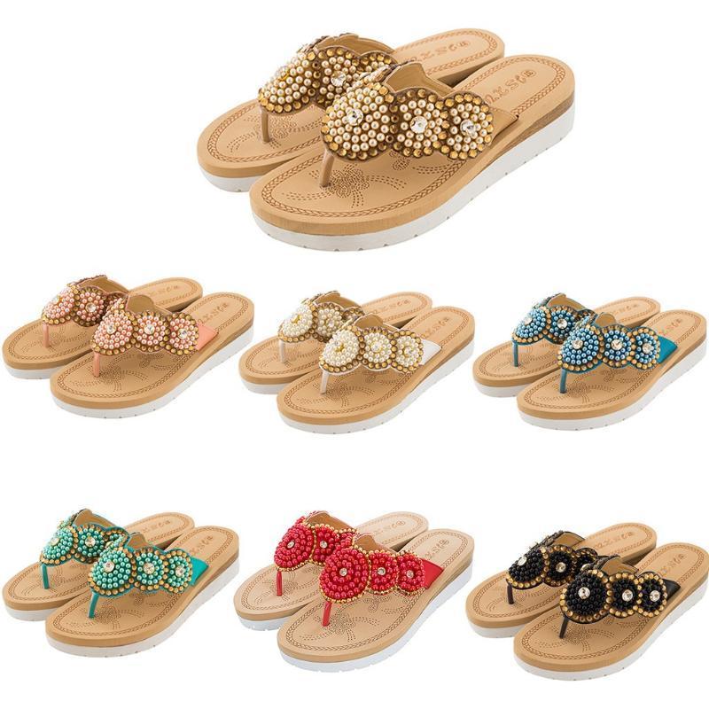 Zapatillas de mujer estilo de verano clip toe toe flip flops damas perla zapatos casuales cuñas tacones altos mujer playa zapatilla plataforma