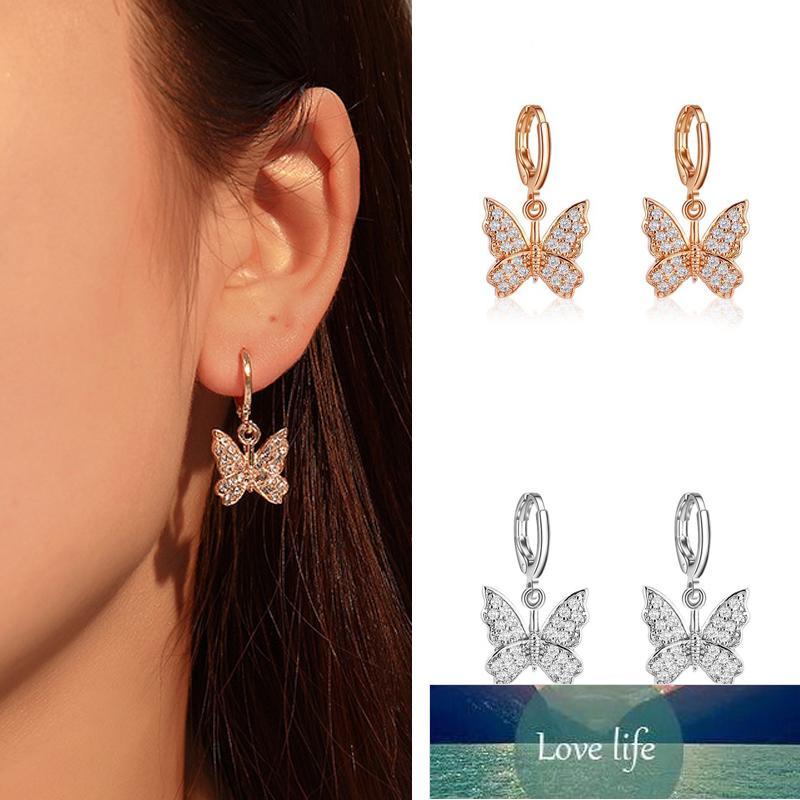 Orecchini pendenti della farfalla coreana della moda per le donne orecchini di goccia di dichiarazione delle donne orecchini del cerchio variopinto degli orecchini del cerchio di colore dolce dei gioielli di fabbrica di progettazione di fabbrica