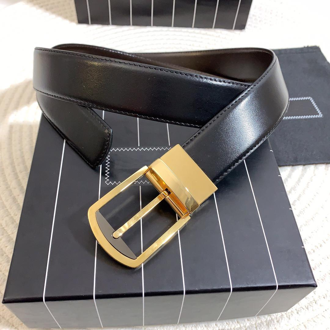 Men's belt leather width 3.5 cm golden silver fashion pin buckle black frame dustproof gift bag #GZ95-125cm