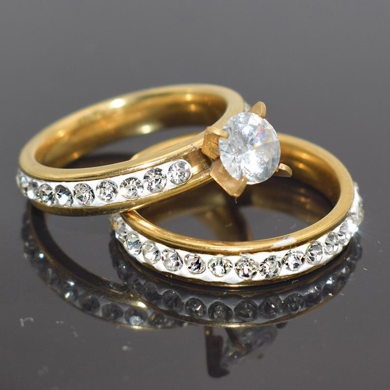 Wedding Rings Est Gold Color One Pair Engagement Set For Women Romantic Inlay Rhinestone Lady Zircon Jewelry