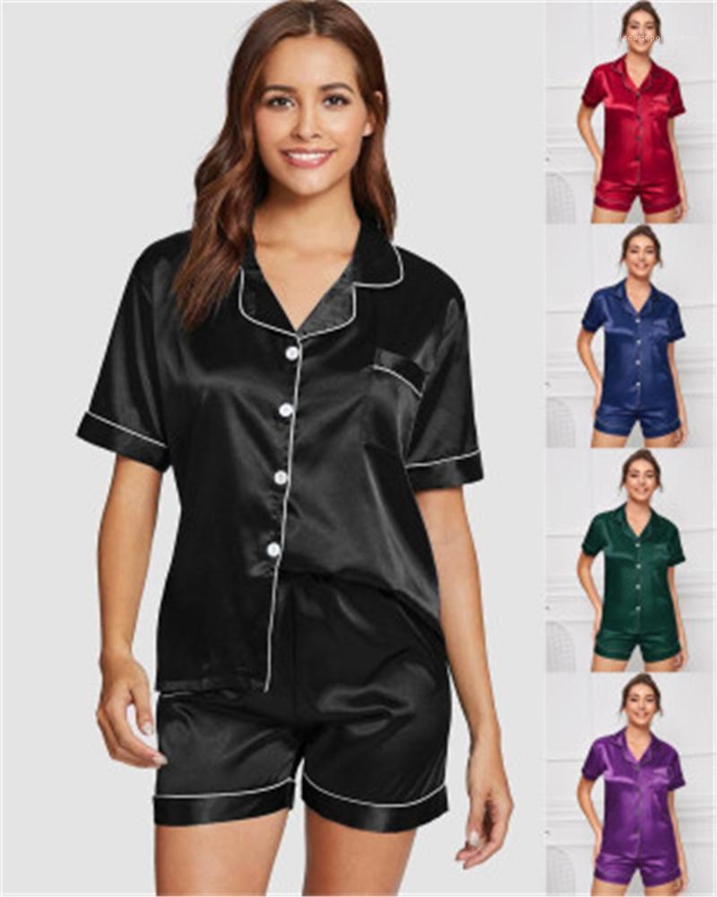 Womens Color Sold Sleepwear Moda Trend Plus Size Short Manga Cardigan Tops Shorts 2 Pcs Conjuntos Pijamas Feminino Verão Casual Casual Roupas