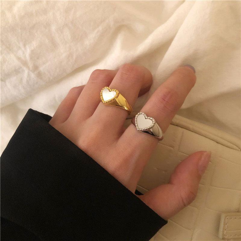 ريتيو 925 فضة افتتاح الدائري للنساء أنيقة الحب القلب قذيفة البنصر السيدات أزياء حزب الزفاف مجوهرات الهدايا