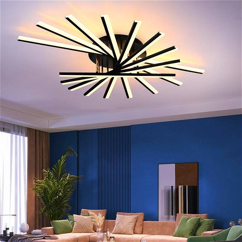 Sala de estar quarto levou teto luz lâmpada moderna decoração de casa longa cabeça acrílica tira cozinha jantando candelabro