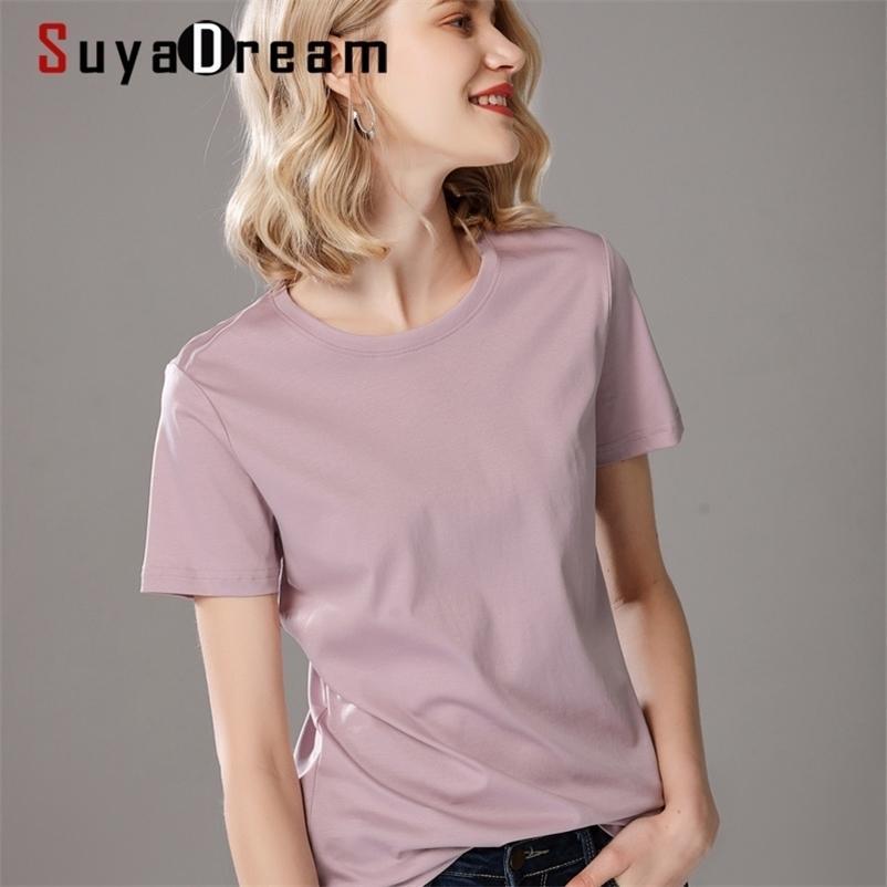 Suyadream mulheres sólidas camisas de algodão e seda mistura lisa o pescoço camisas de manga curta camisas de verão cores básicas top 210320