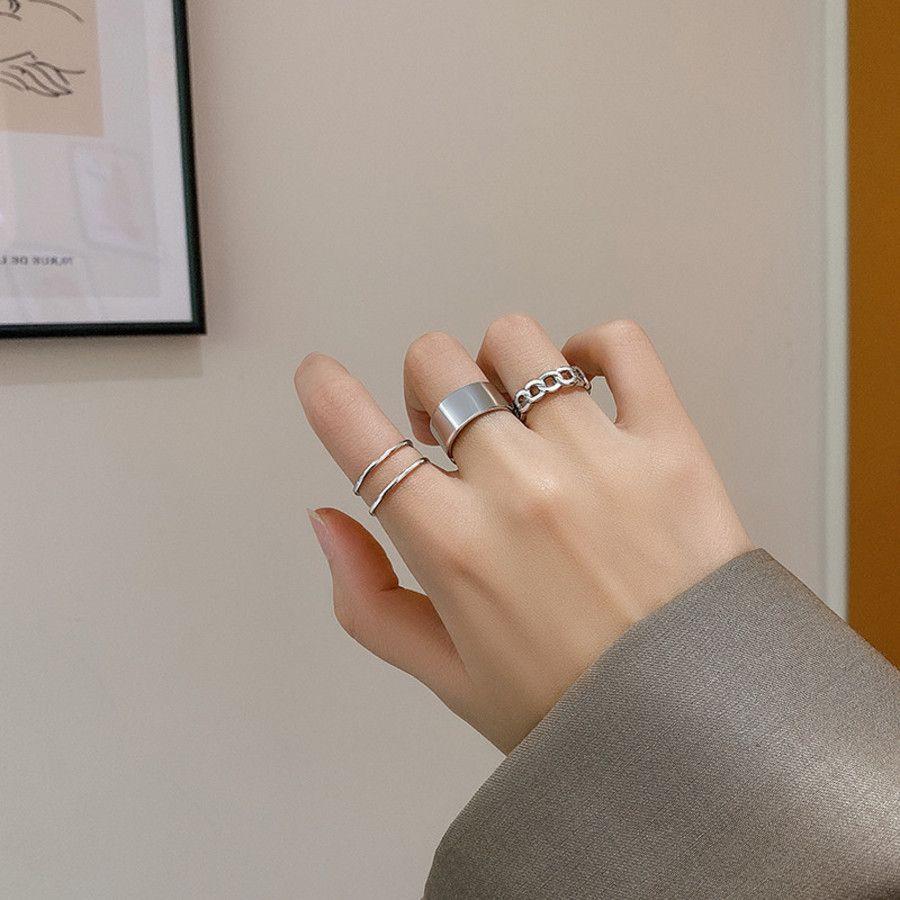 Juego de tres piezas ~ Apertura simple Anillo ajustable Personalidad de la moda de la moda del índice versátil de la cola del temperamento del dedo WH5V