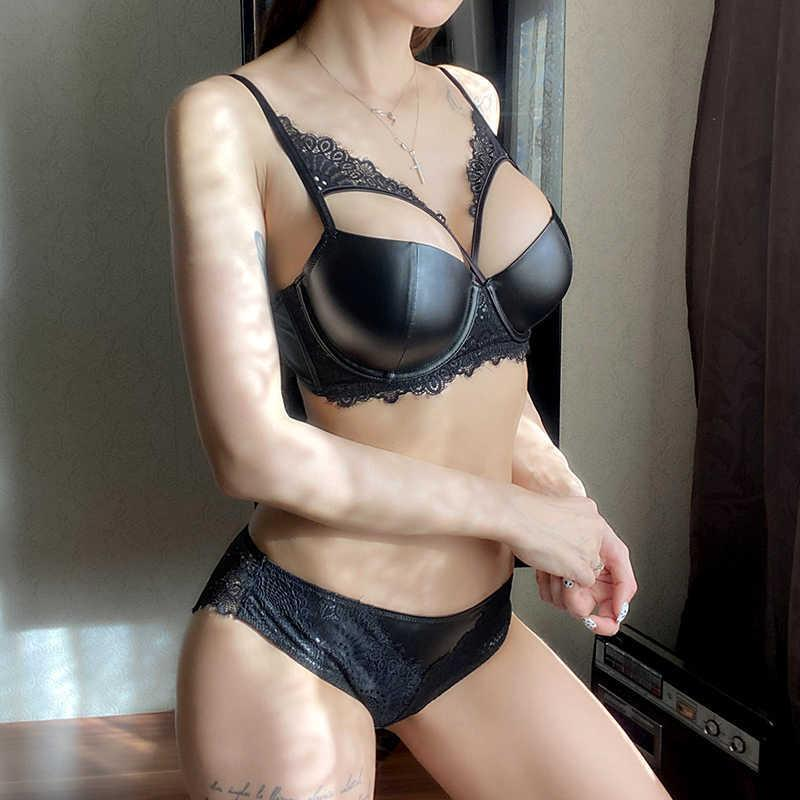 Sexy Brassiere Glossy Cortex Black Bra Set Push Up Thick Brand Underwear B C D Cup Bandage Lace Women Lingerie Set High Quality Q0705