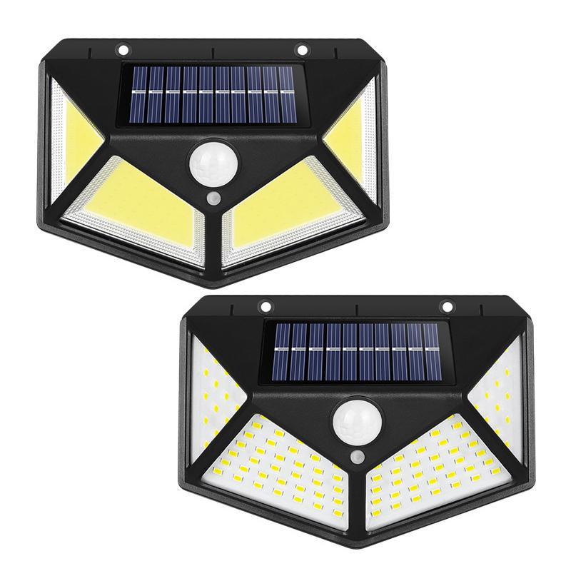 Lámparas solares al aire libre 100 LEDs Sensor de movimiento solar Luces IP65 impermeable con gran angular para patio jardín garaje garaje puerta