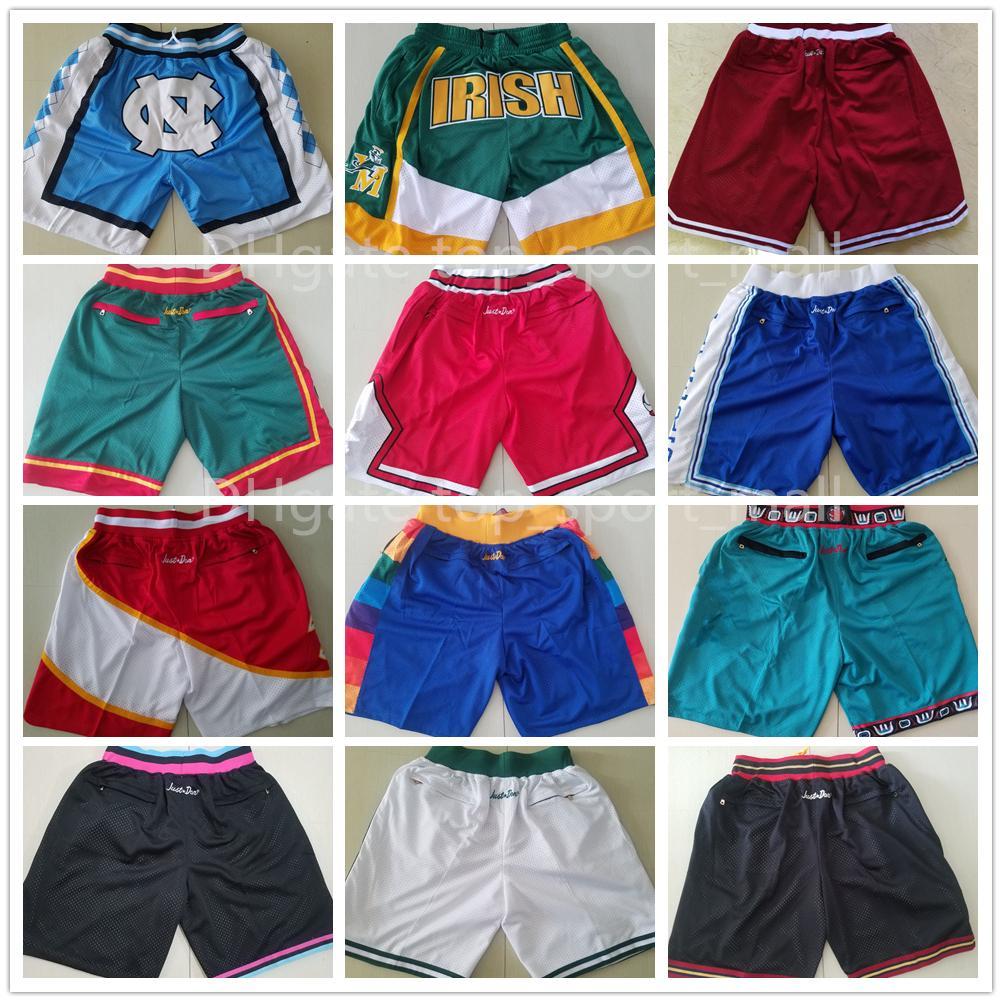 Men Team Basketball Shorts Just Short Don With Pocket Zipper Hip Pop Sport Wear Pant Sweatpants Blue White Black Red Purple Stitch Good