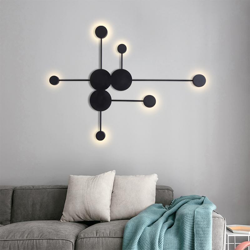 Nordic Appliquer une lampe murale LED couloir branches lumineux bras longs pour la chambre à coucher Décoration de la maison or noir escalier blanc décoration de salon