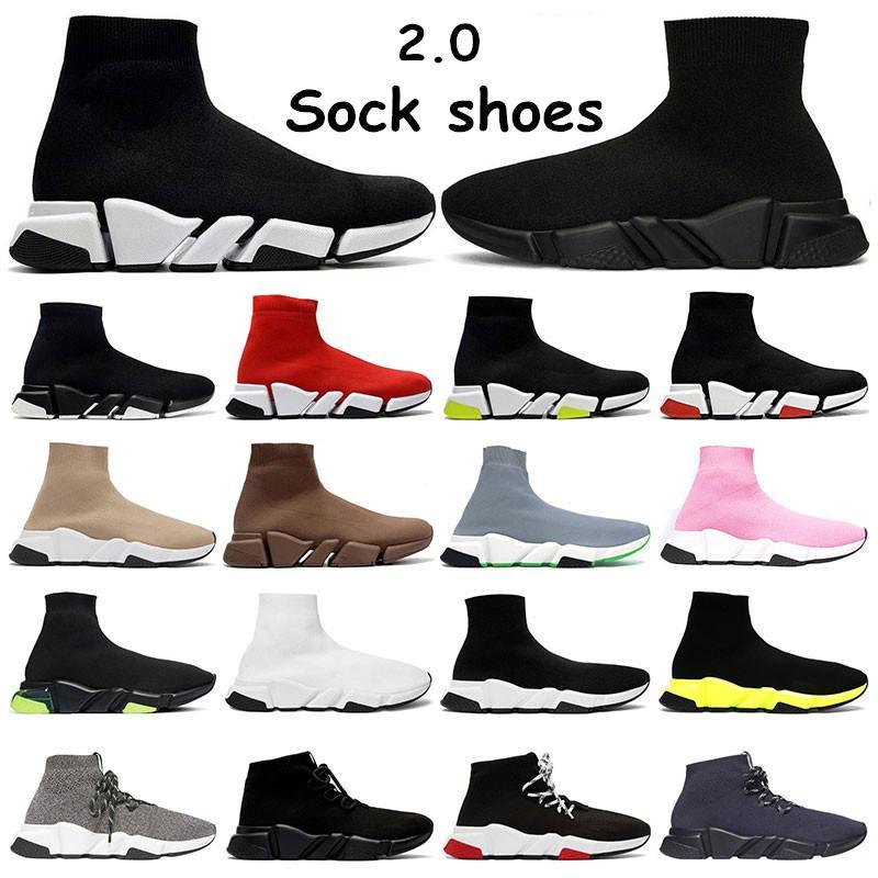 새로운 양말 신발 플랫폼 트리플 베이지 블랙 화이트 레드 청이 네온 평면의 캐주얼 운동화 스포츠 패션 아웃 도어 크기 36-45를 여자 망