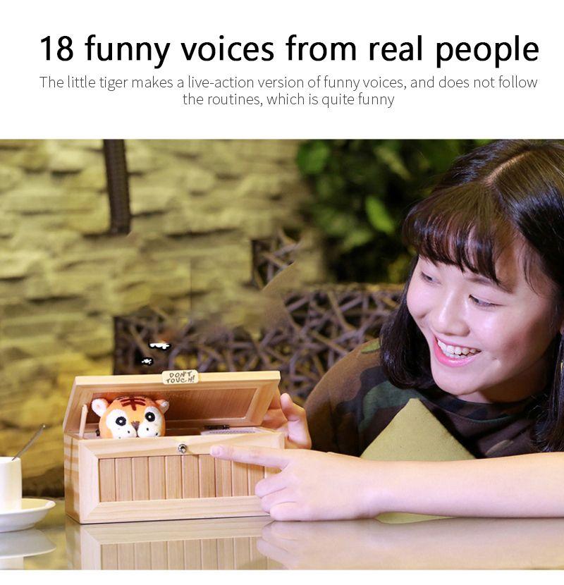 Creative little tiger boring box trick toy birthday gift human voice version Douyin same style