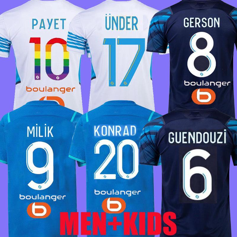 21 22 Marseille Football Jerseys Gerson Cengiz Ünder Olympique Milik Maillot de Foot OM 2021 Camiseta Rongrier Payet Konrad Guendouzi Kamara Hommes Hommes Chemises Chemises Football Tops