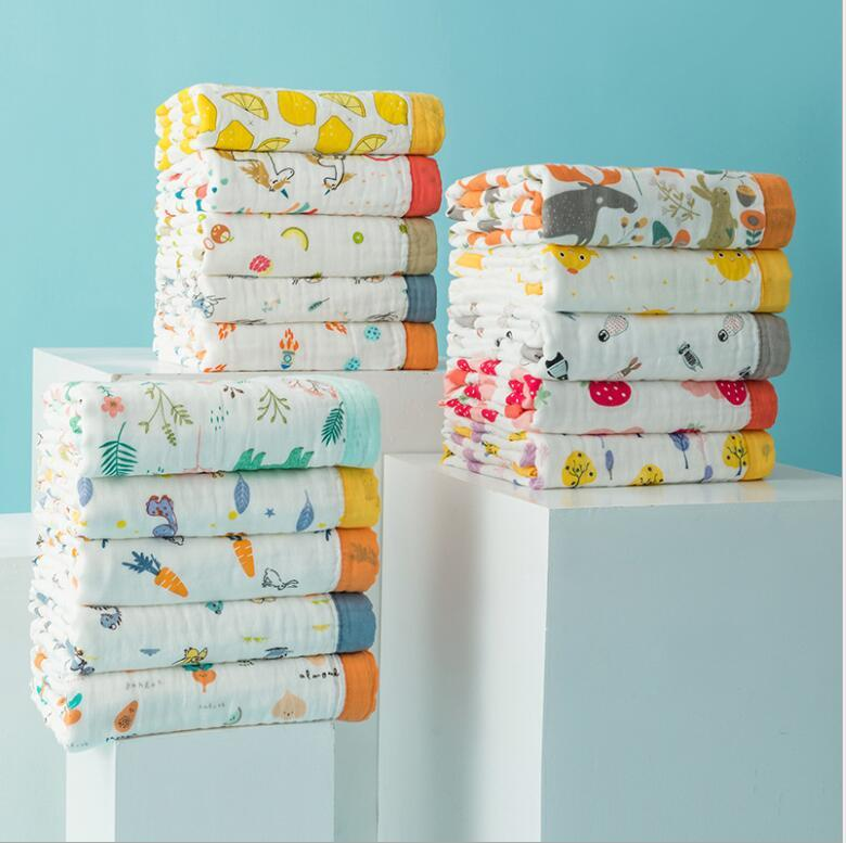 120 * 150 cm Bambina Baby Blank Swaddgling Asciugamani da bagno per bambini Stampato Mussola di bambù a sei strati Bamboo Garza Asciugamano avvolto da Ins Mix Styles