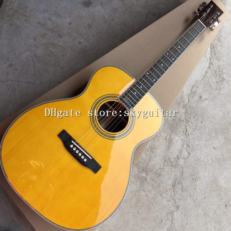 Haute Qualité usine de la guitare acoustique de 39 pouces OM, du dessus de l'épinette solide, des côtés de bois de rose et du dos, de la guitare de touche ébène