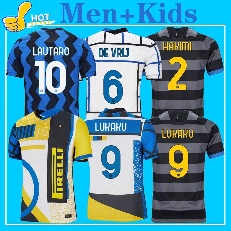 Inter Soccer Jerseys 2021 Fourth Kit Lukaku ميلان Lautaro Hakimi Barella de Vrij 20 21 أعلى جودة قميص كرة القدم الرجال + أطفال