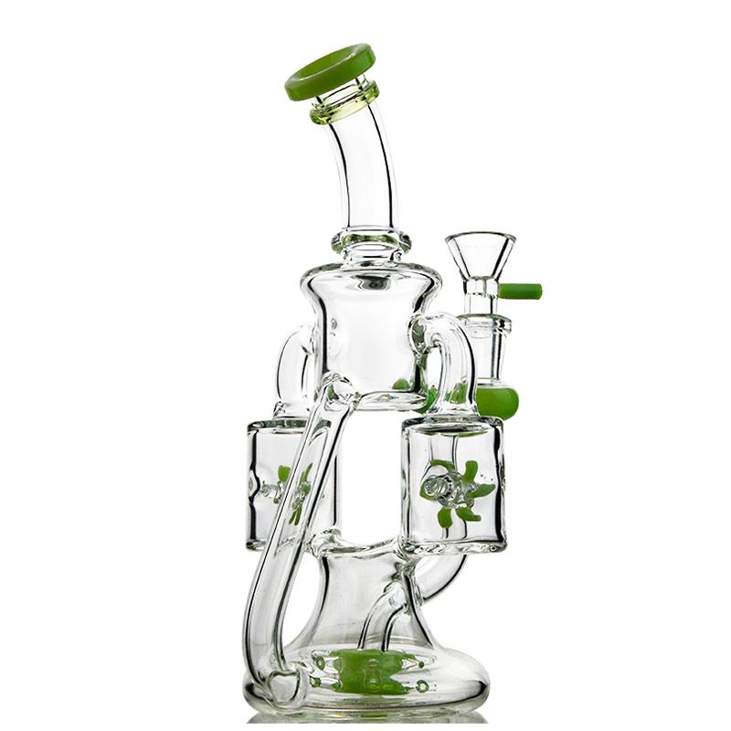 Unique Bong Propeller Percolater Hookahs Heady Glass Bongs Double Recycler Oil Dab Rigs 14mm Female Joint Water Pipes With Bowl Wholesale XL1943