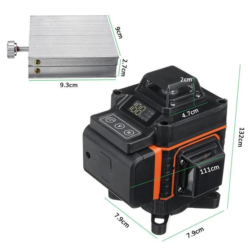 16 linhas 4D Laser Nível LED Display Luz Verde Auto auto nivelamento 360 ° Medida Rotária Vertical Horizontal Controle Remoto Vertical