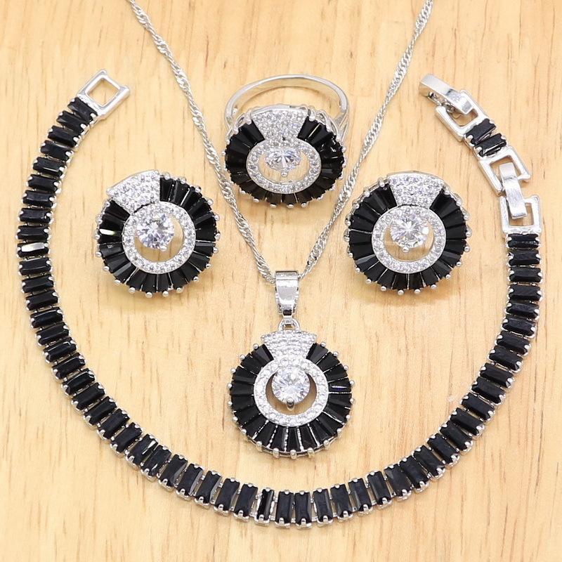 2021 Stil Siyah Yarı-Değerli Gümüş Renk Takı Setleri Kadınlar Için Düğün Kolye Kolye Küpe Yüzük Bilezik Hediye Kutusu