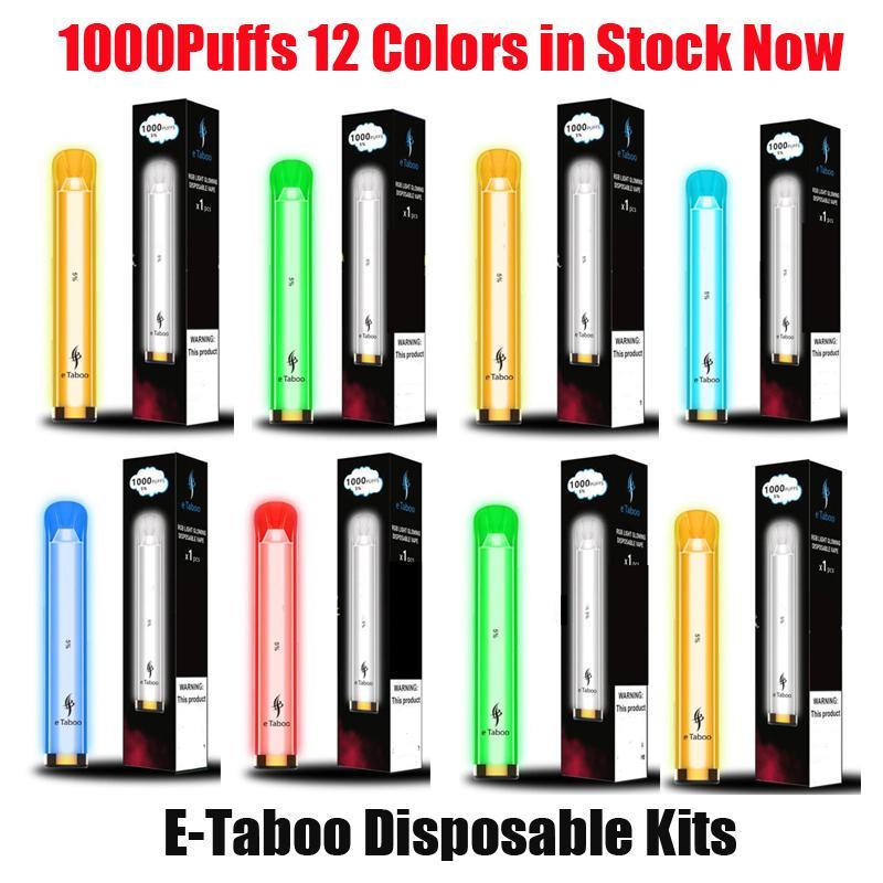 100% originale e-tabù e-sigarette e-sigarette e-sigarette e-sigarette del pod kit 1000 sbuffi 600mAh batteria 3.5ml Pods premilled cartuccia RGB luce flash stick penna vape autentica
