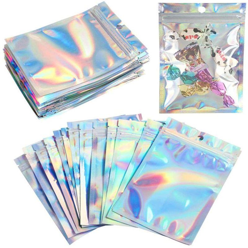 Sacos de alumínio do cheiro resselável bolsa de alumínio bolsa de zíper bolsa holográfica embalagem para o armazenamento de jóias de lanche de alimentos