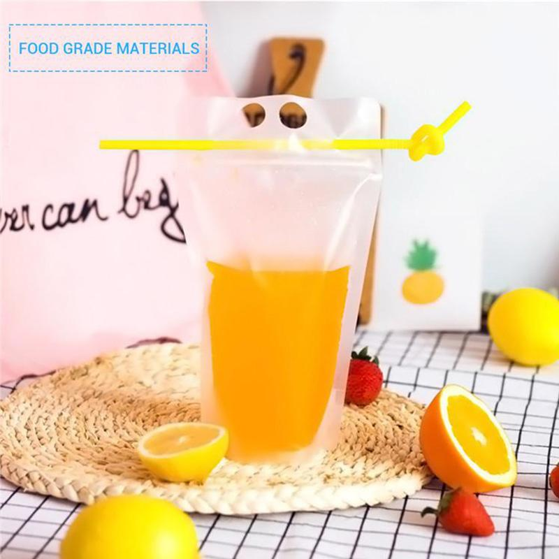 17oz Clear Drinkware Stand-up Plastic Drink Pouches Bags Frosted Zipper Drinking Bag with Straw Holder Reclosable Heat-Proof