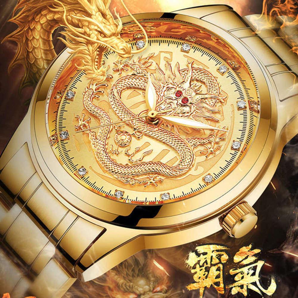 Светящиеся мода простые водонепроницаемые часы кварцевые мужские трехмерные сброс золота дракона 80695
