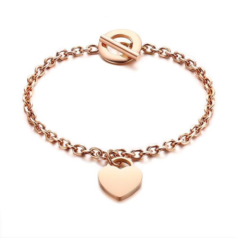 Love Heart Charm Bracelets for Women Trendy Womens Jewelry Personalised Gifts Stainless Steel Link Chain Bracelet