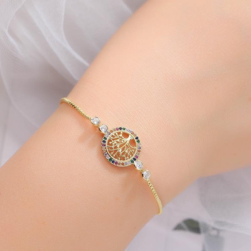 Mystic Rainbow Zirkon Stein Party Kette Armband Luxus Weibliche Baum des Lebens Rose Gold Silber Farbe Armbänder für Frauen Charme