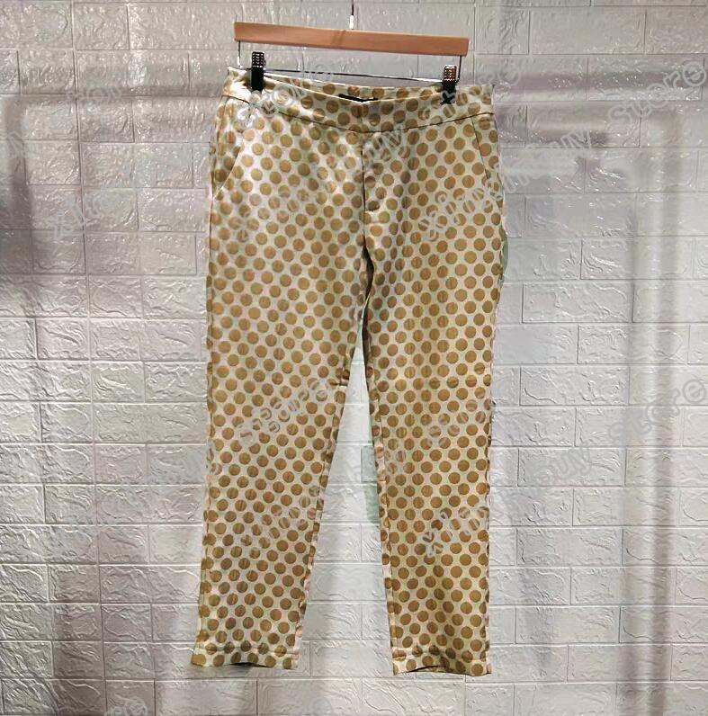 20SS France latest spring summer fashion Italy pant Golden brown Jacquard men women casual cotton Baseball triangle pants blue