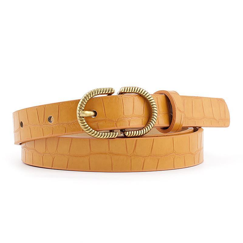 Cinturones delgado PU cinturón de cuero mujeres piedra grano correa hembra pin hebilla cintura damas jeans 2021 negro blanco verde amarillo moda