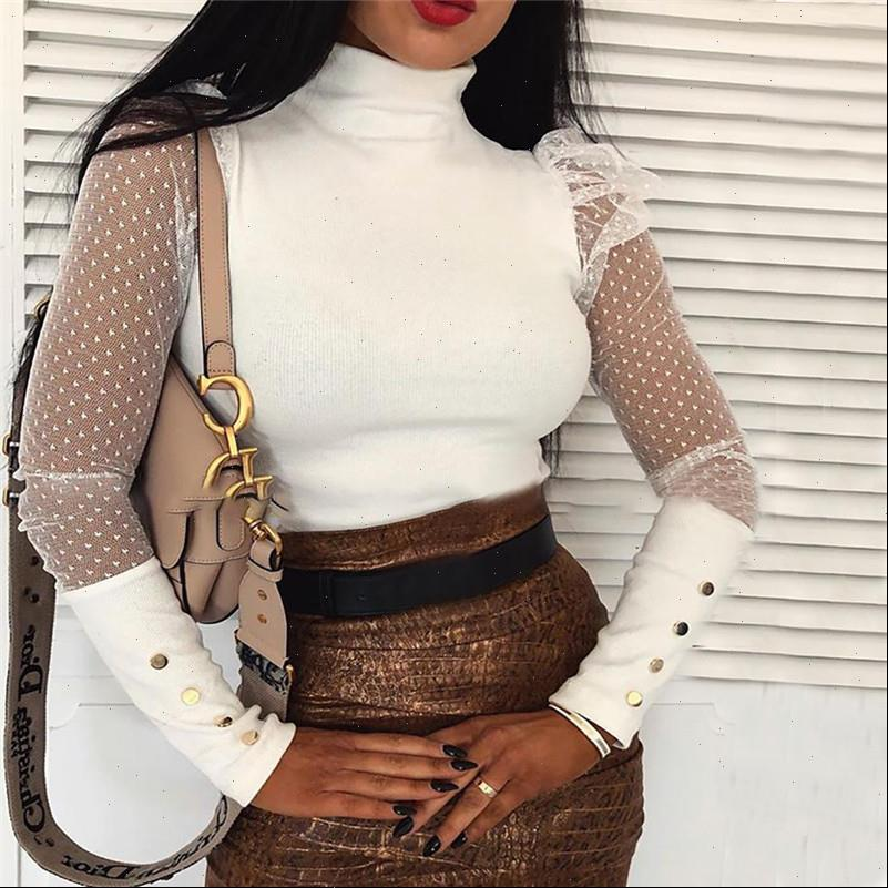 Plus Size White Black Womens Blouses Lace Polka Dots Fashion Tops and Spring Summer Female OL Blusas