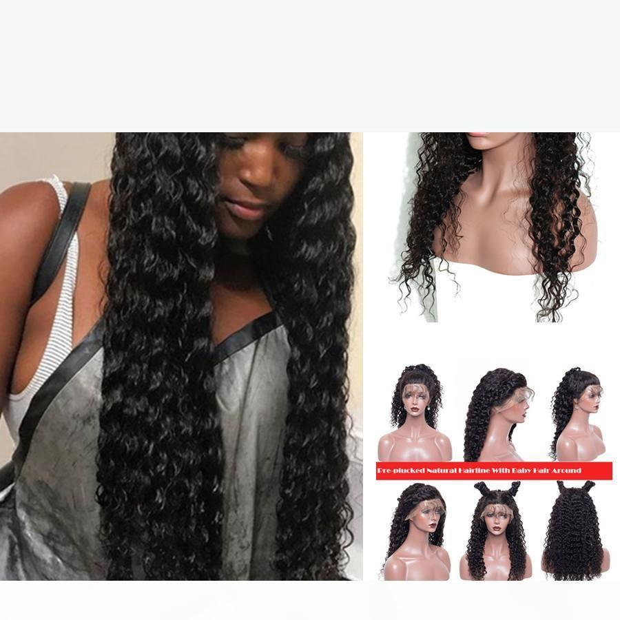 İnsan Saç Peruk Siyah Kadınlar Için Perulu Afro Kinky Kıvırcık Dantel Ön Peruk Ile Bebek Saç Tam Dantel İnsan Saç Peruk Dantel Ön Peruk