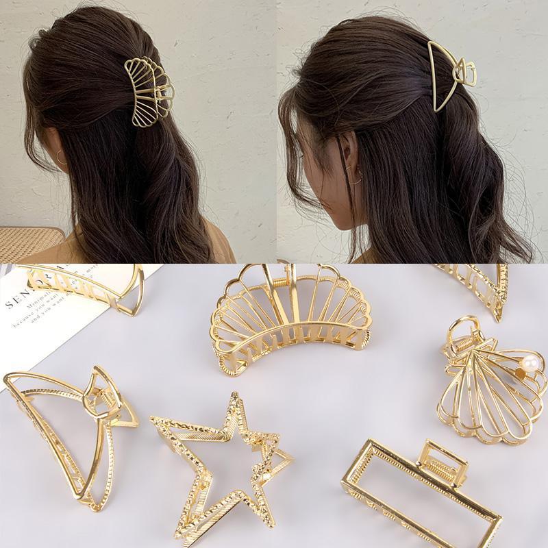 Estilos Small Small Simple Wild Geométrico Garra de cabello para mujeres Girls Abrazaderas Cangrejo Metal Accesorios de clip de metal Headwear Clips Barrettes
