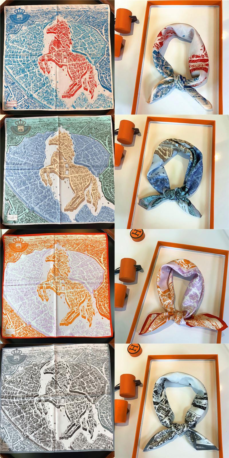 Quadrat 53 cm Seide Pashmina Kleine Schals Wraps 53 * 53 cm Weibliche Mode Zubehör Pferd Muster Neck Scarve Frauen Damen Damen Kleid