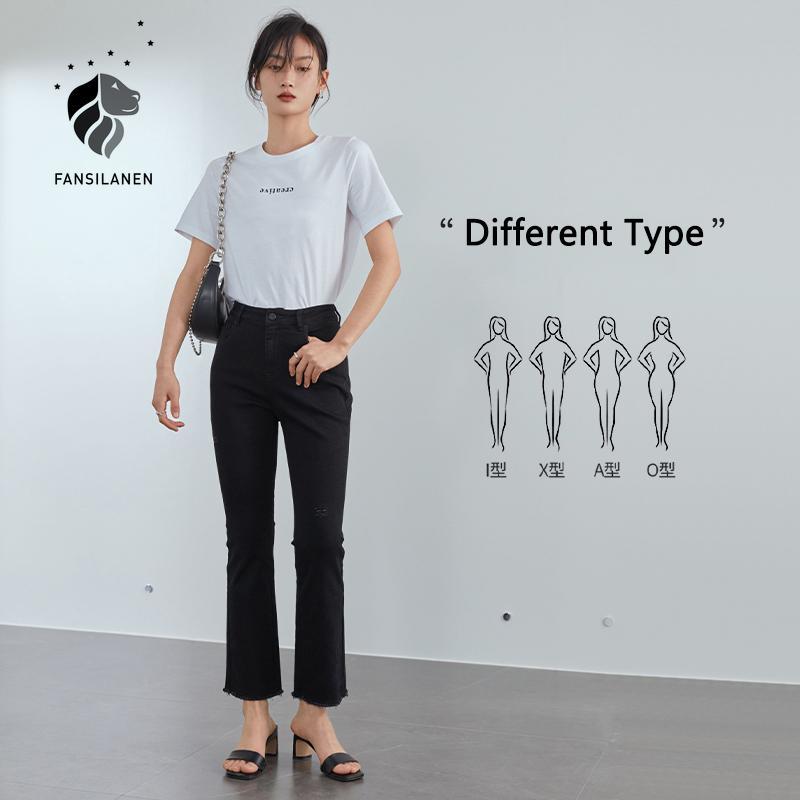 Fansilanen rasgado magro preto calças de brim das mulheres borla franja casual cintura alta calça jeans feminino streetwear calças denim vintage