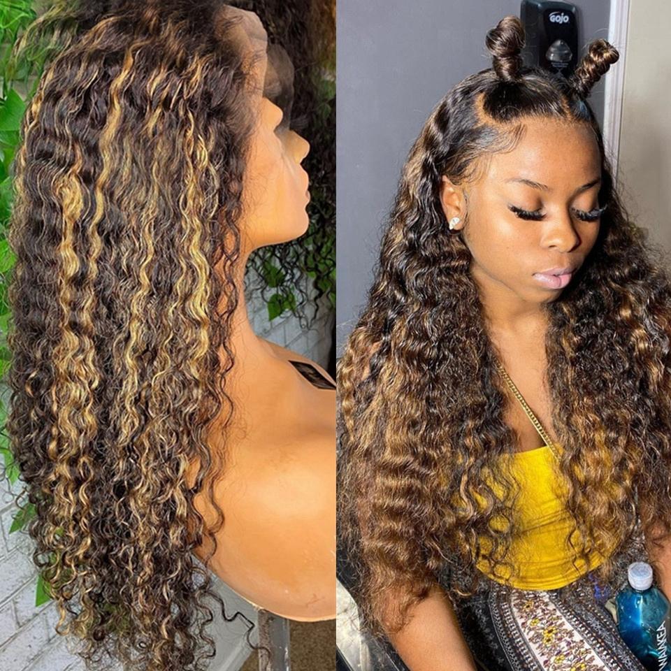 Couleur Human Hair Wig Honey Blonde ombre 13x4 Brésilien Brown Couleur Waet d'eau profonde HD Fontal Mightal Bob Laceclosure Perruques