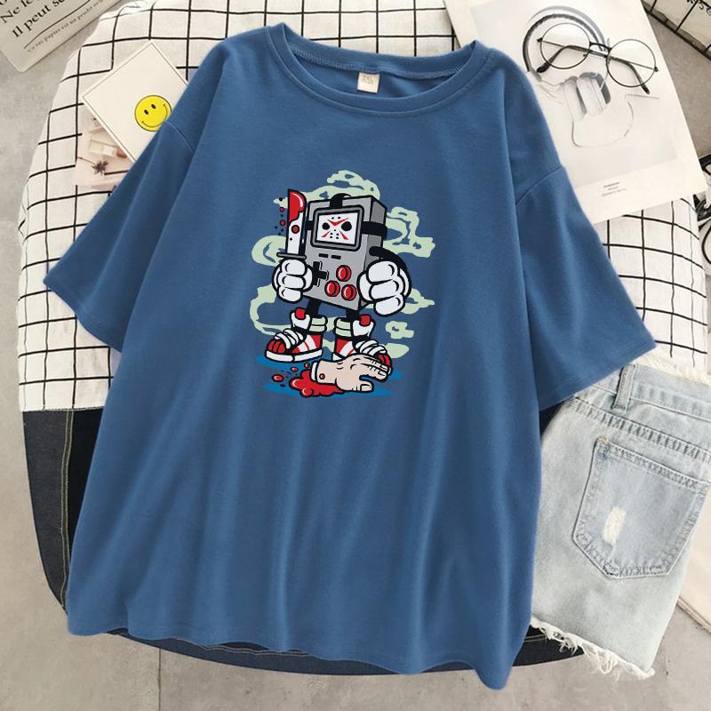 Oyun Konsolu Jason Hip Hop Baskı Kadın Tişörtleri Moda T-Shirt Yumuşak Tee Giysileri Nefes Yaz Büyük Boy Üstleri Kadın T-Shirt