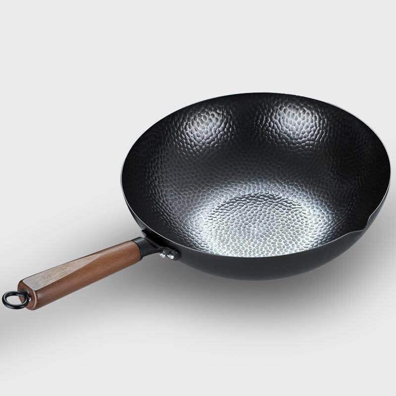 Деревянная крышка ручной работы железный горшок 32см безразрешенного здоровья WOK без падения газовая плита индукционная плита универсальные сковородки
