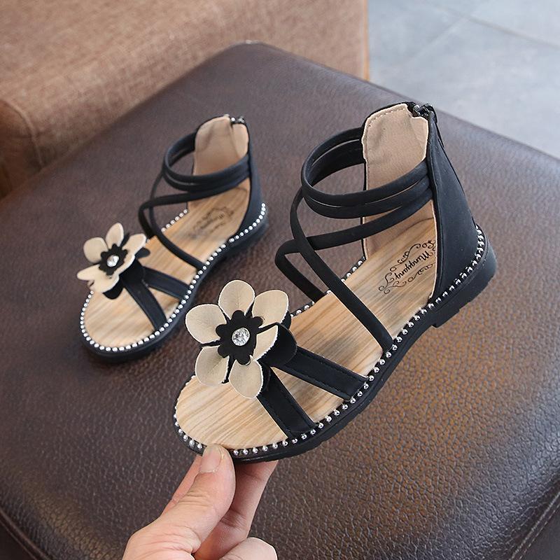Kinder flache Sandalen Mädchen Mode Sommerschuhe Nieten Zip Römischen Stil Kinder Prinzessin Casual