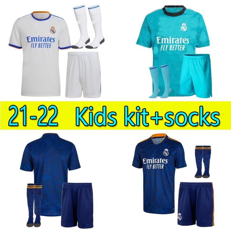 Çocuklar Kiti + Çorap Gerçek Madrid Mbappe Futbol Formaları 21 22 Benzema Futbol Gömlek 2021 2022 Alaba Tehlike Asensio Modric Marcelo Camiseta Gençlik Maillot de Futbol Gömlek